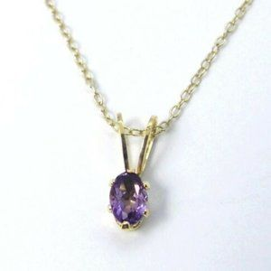Jewelry - Oval AMETHYST 18K Rose Gold Silver Necklace